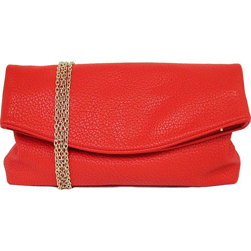 JNB Foldover Clutch Red JNB Manmade Handbags