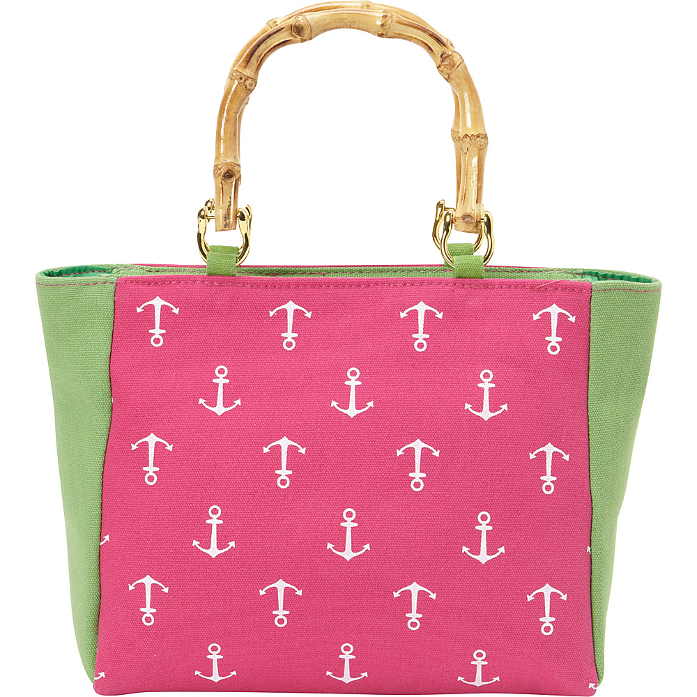 Magid Bamboo Handle Anchor Mini Tote Fuchsia/Green - Magid Fabric Handbags