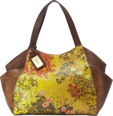 Icon Shoes Large Shoulder Tote with Side Pockets Japanese Screen - Icon Shoes Leather Handbags
