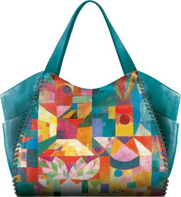 Icon Shoes Large Shoulder Tote with Side Pockets Garden View - Icon Shoes Leather Handbags