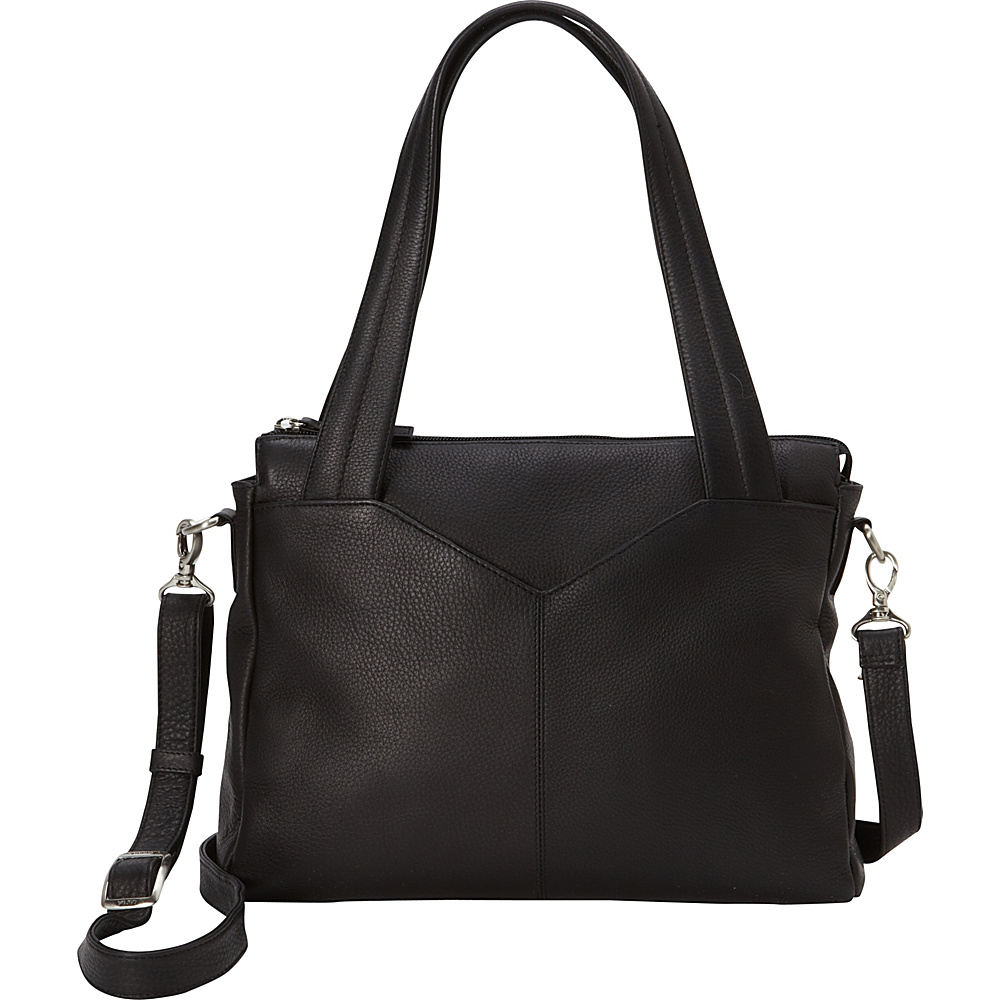 Derek Alexander Med Double Handle Tablet Friendly With V Cut Black - Derek Alexander Leather Handbags - Handbags, Leather Handbags