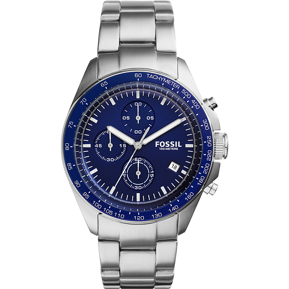 Fossil Sport 54 Chronograph Stainless Steel Watch Silver/Blue - Fossil Watches - Fashion Accessories, Watches