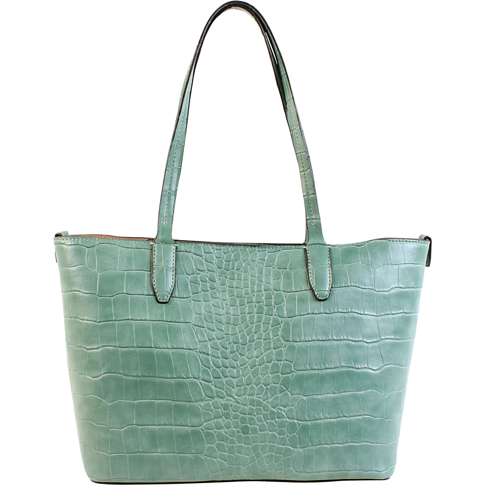 Emilie M Loren Tote Teal Croco Emilie M Manmade Handbags