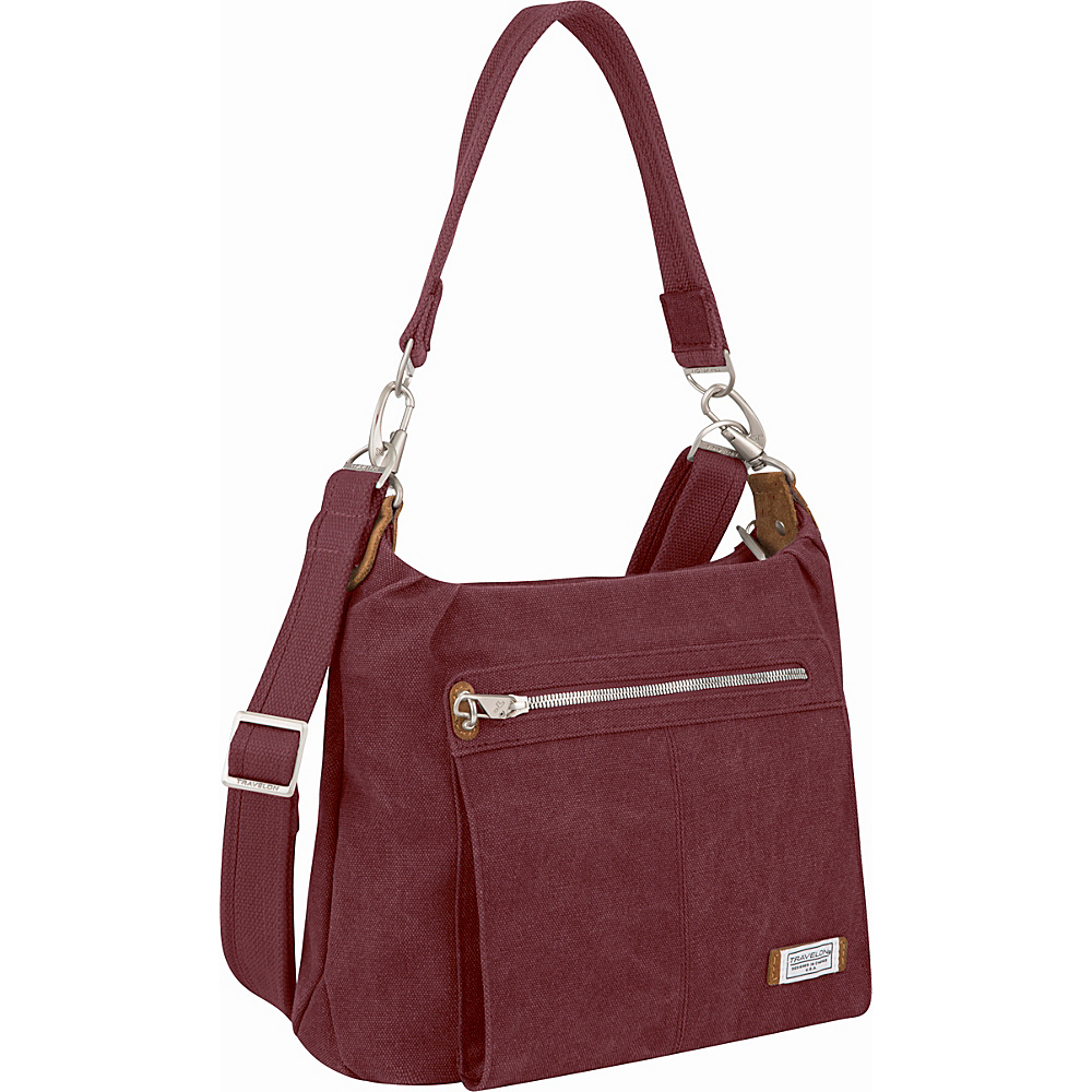 Travelon Anti-Theft Heritage Hobo Bag Wine - Travelon Fabric Handbags - Handbags, Fabric Handbags
