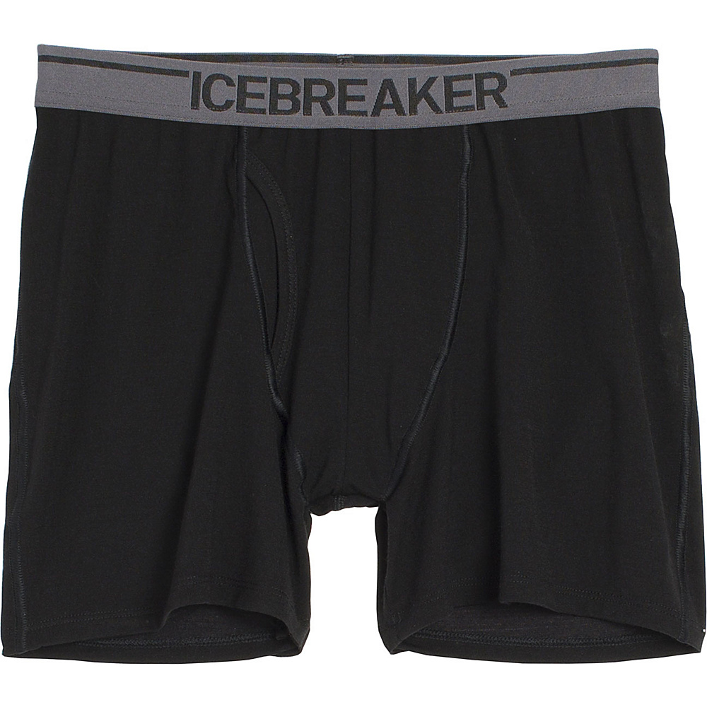 Icebreaker Mens Anatomica Relaxed Boxers with Fly L - Black - Icebreaker Mens Apparel - Apparel & Footwear, Men's Apparel