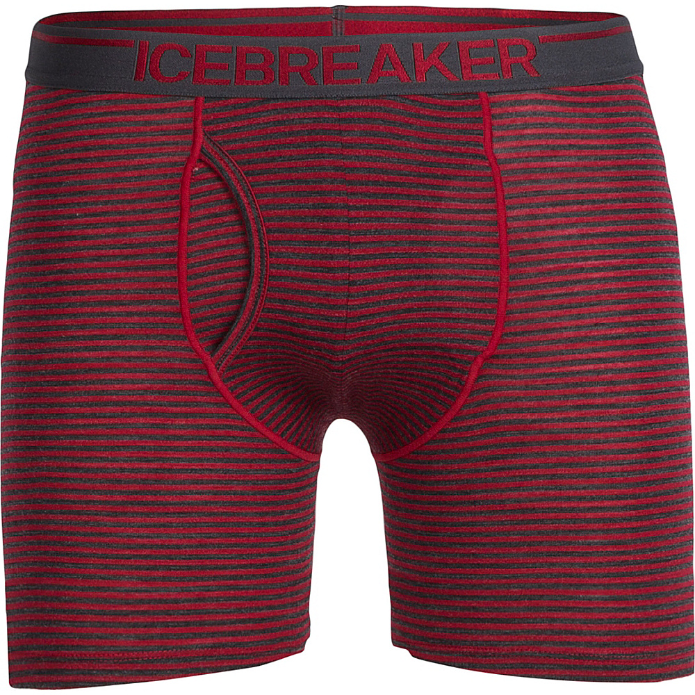 Icebreaker Mens Anatomica Relaxed Boxers with Fly XL - Jet HTHR - Icebreaker Mens Apparel - Apparel & Footwear, Men's Apparel