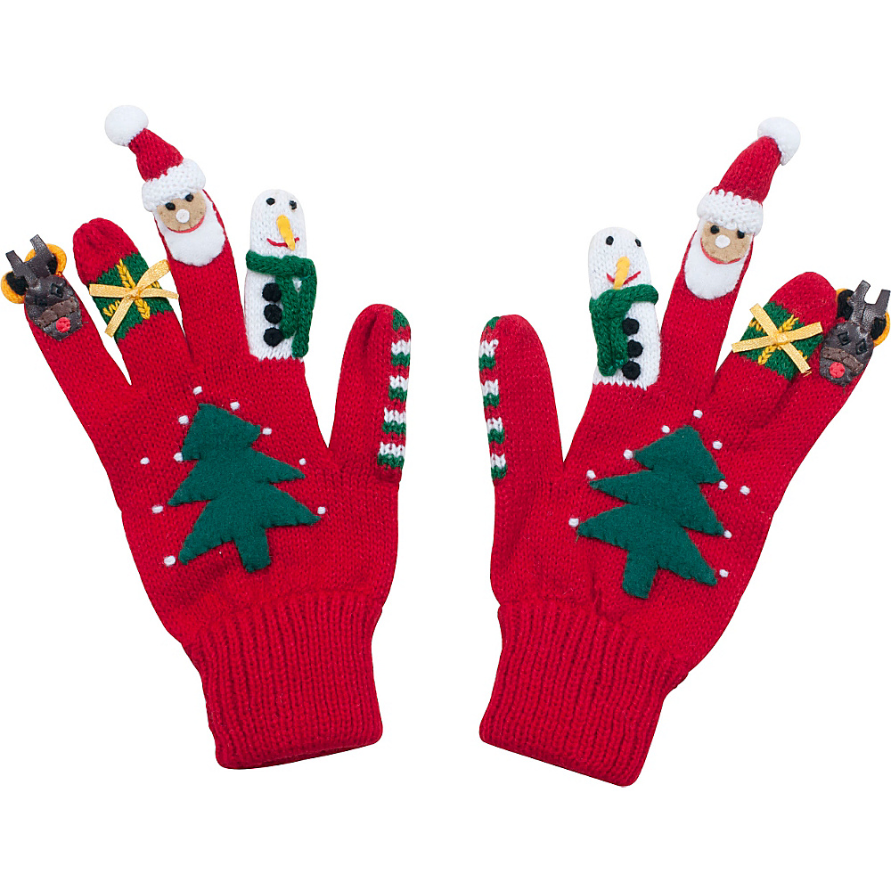 Kidorable Xmas Knit Gloves Red Large Kidorable Hats Gloves Scarves