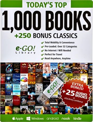 e-Go! Portable Library Today's Top 1,000 eBooks + 250 Bonus Classics green - e-Go! Portable Library Electronic Accessories