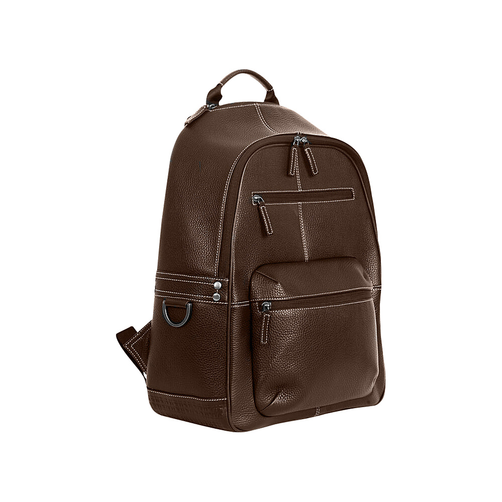 Boconi Tyler Tumbled Campus Pack Coffee with Khaki Boconi Business Laptop Backpacks