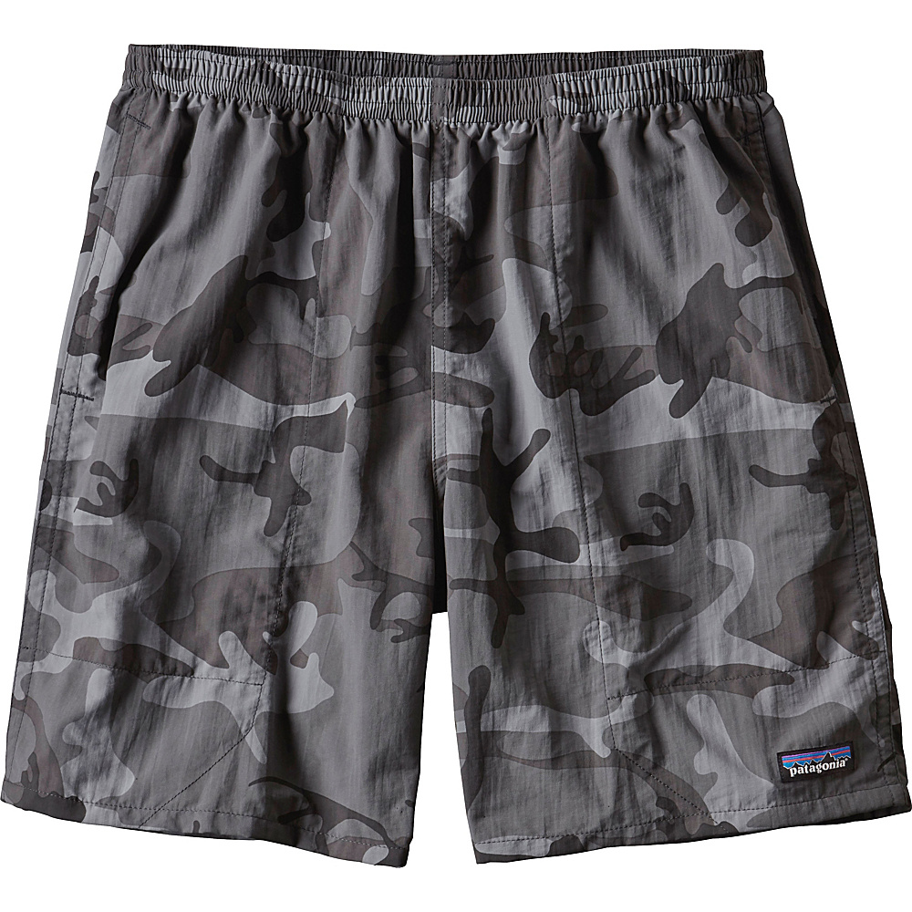 Patagonia Mens Baggies Long Shorts - 7 in S - 7in - Forest Camo: Forge Grey - Patagonia Mens Apparel - Apparel & Footwear, Men's Apparel
