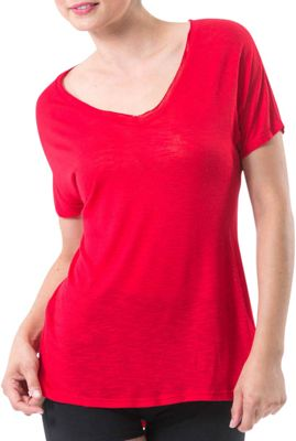 Electric Yoga Deep V Tee S - Red - Electric Yoga Women's Apparel