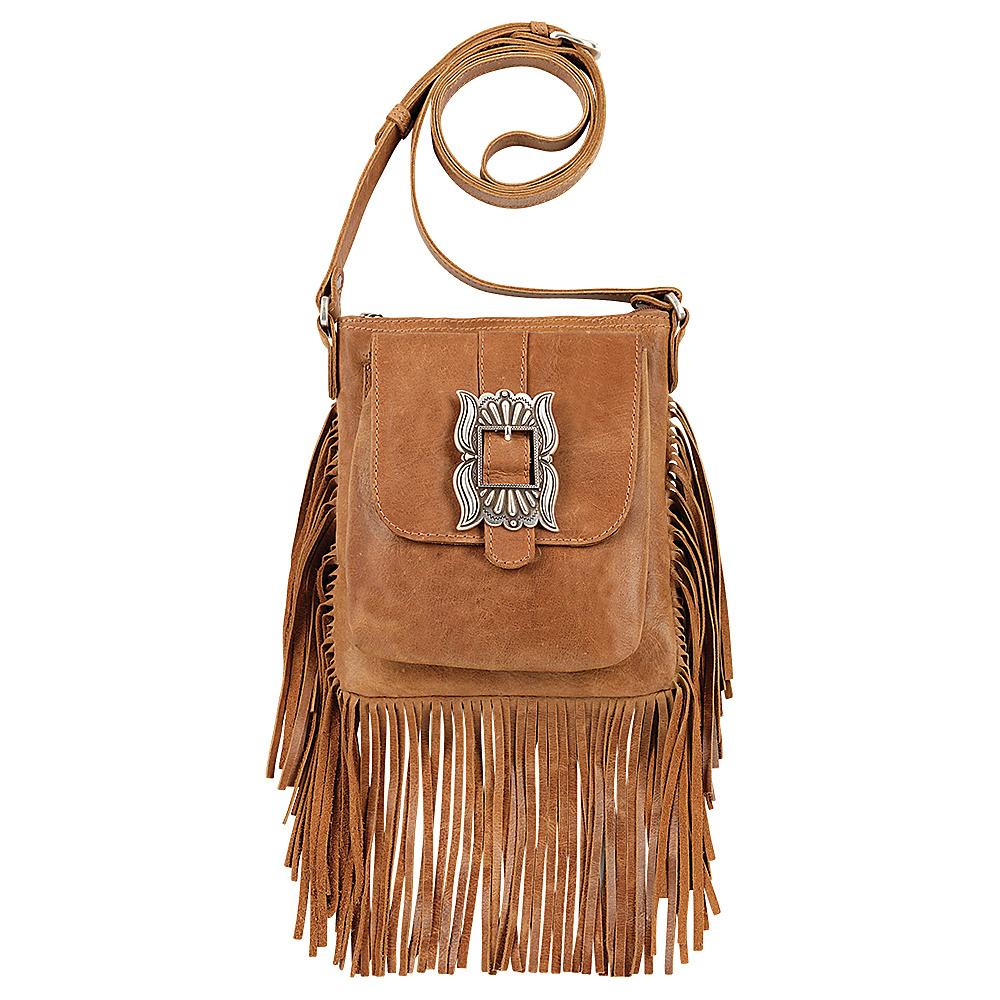 American West Eagle Feather Soft Crossbody Fringe Bag Deerskin American West Leather Handbags