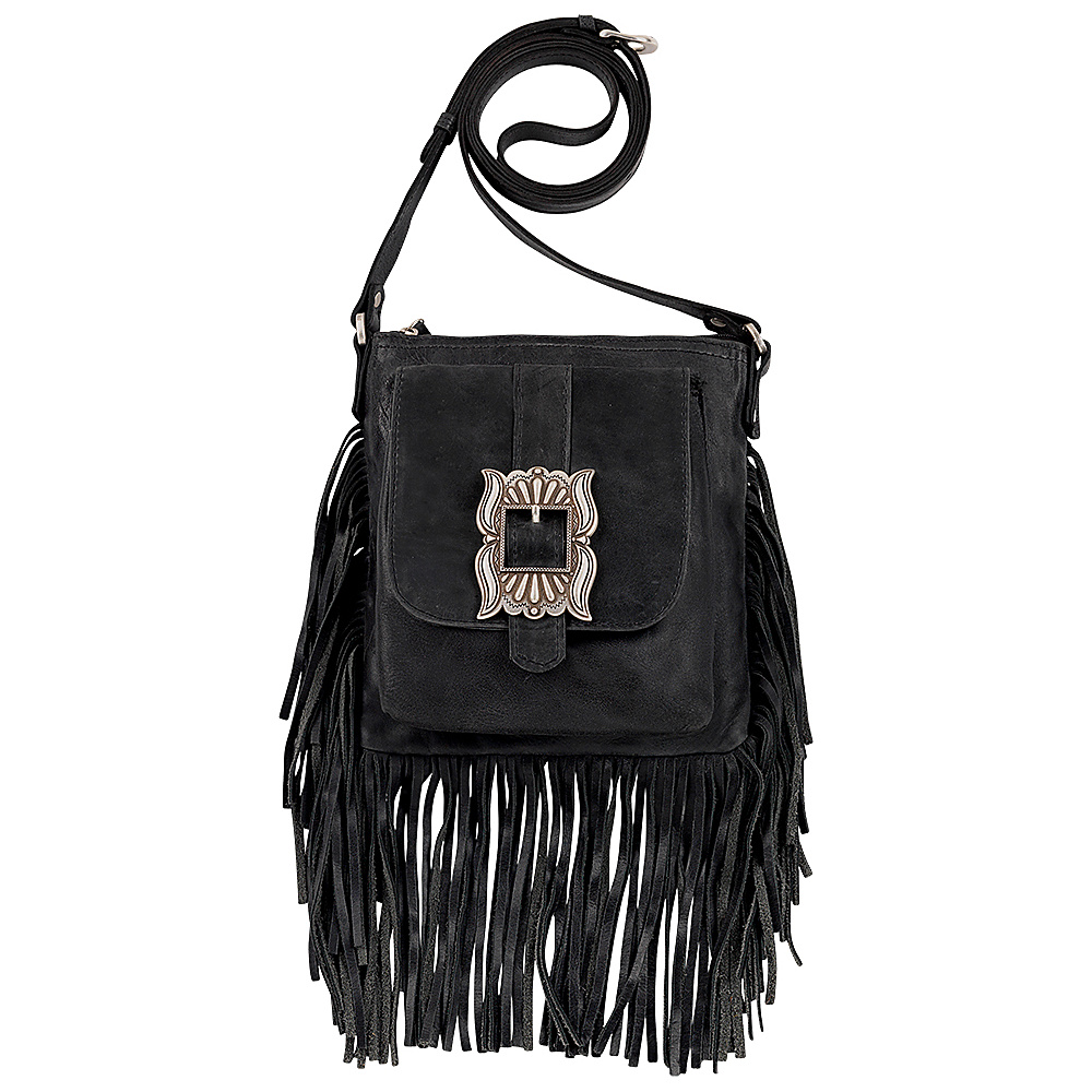 American West Eagle Feather Soft Crossbody Fringe Bag Charcoal American West Leather Handbags