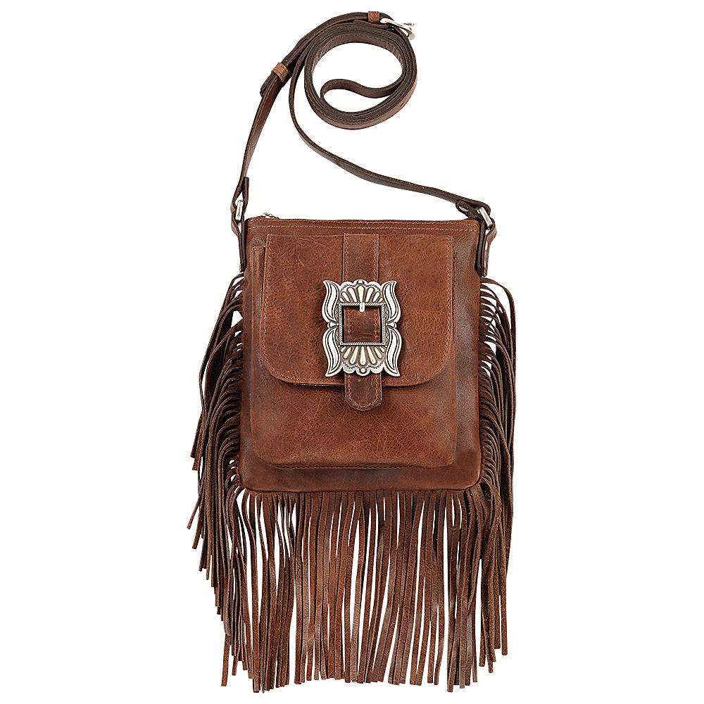 American West Eagle Feather Soft Crossbody Fringe Bag Tobacco - American West Leather Handbags