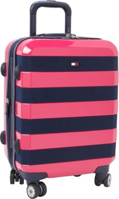 Tommy Hilfiger Luggage Rugby Stripe 21 Carry-On Hardside Spinner Pink - Tommy Hilfiger Luggage Hardside Carry-On