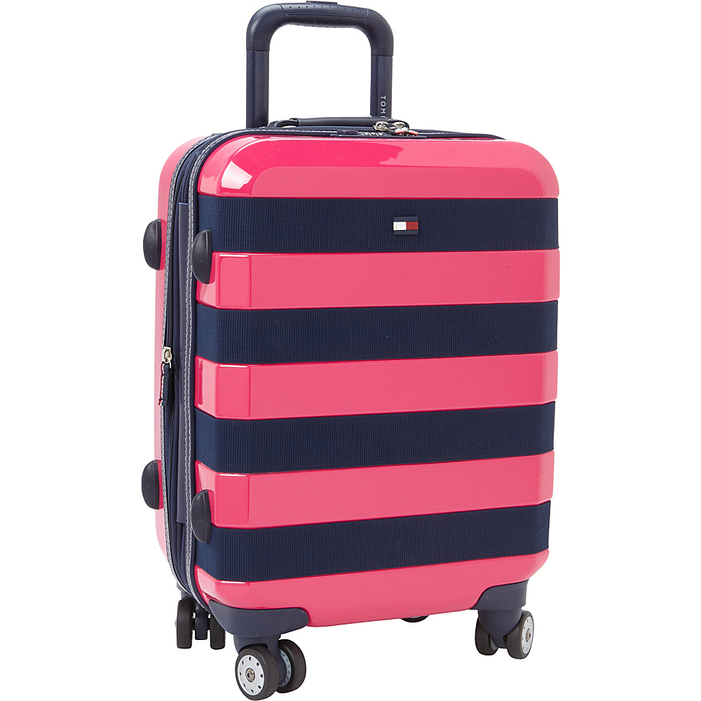 Tommy Hilfiger Luggage Rugby Stripe 21 Carry On Hardside Spinner Pink Tommy Hilfiger Luggage Hardside Carry On