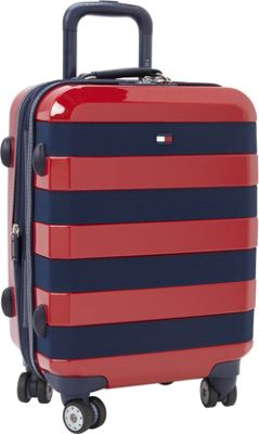 Tommy Hilfiger Luggage Rugby Stripe 21 Carry-On Hardside Spinner Red - Tommy Hilfiger Luggage Hardside Carry-On