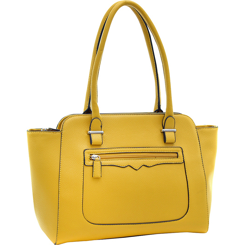 Dasein Faux Leather Shoulder Bag with Front Zipper Pocket Yellow - Dasein Manmade Handbags - Handbags, Manmade Handbags