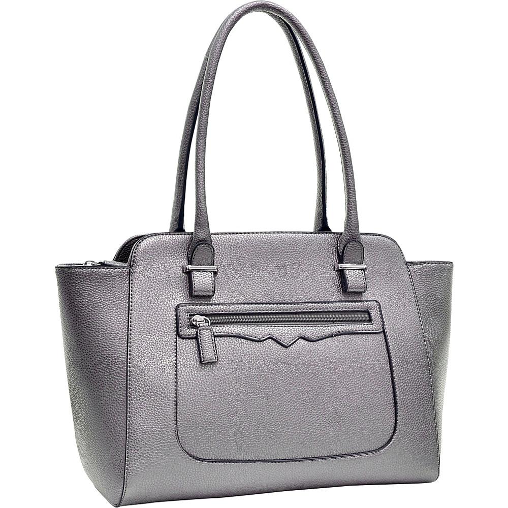 Dasein Faux Leather Shoulder Bag with Front Zipper Pocket Silver - Dasein Manmade Handbags - Handbags, Manmade Handbags