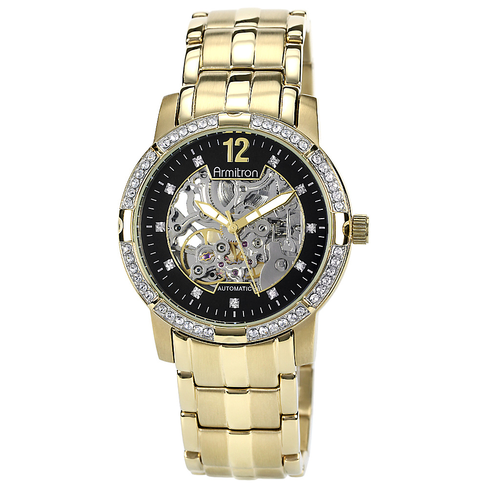 Armitron Gold Tone Atomatic Movement 59 Swarovski Crystal Watch Gold Armitron Watches
