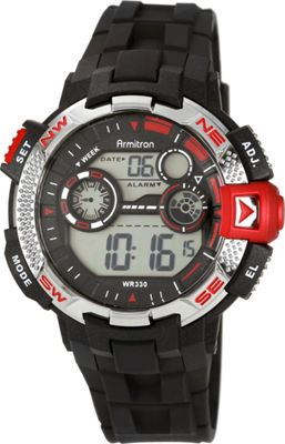 Armitron Sport Mens Metallic and Red-Accented Black Resin Strap Digital Chronograph Watch Red - Armitron Watches