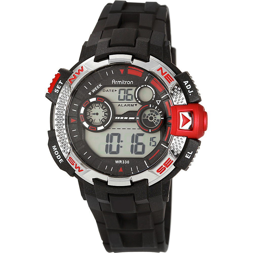 Armitron Sport Mens Metallic and Red Accented Black Resin Strap Digital Chronograph Watch Red Armitron Watches