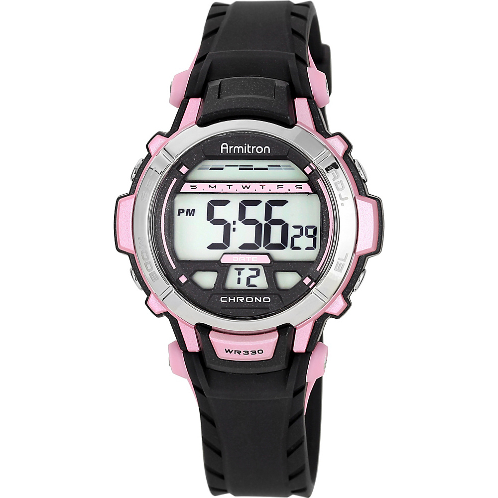 Armitron Sport Womens Pink Accented Black Resin Strap Digital Chronograph Sport Watch Pink - Armitron Watches