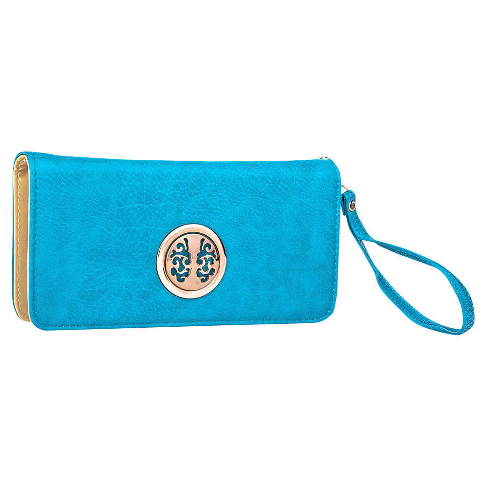 MKF Collection Bonnie Double-Zip Multiple Pocket Wallet Turquoise - MKF Collection Ladies Small Wallets