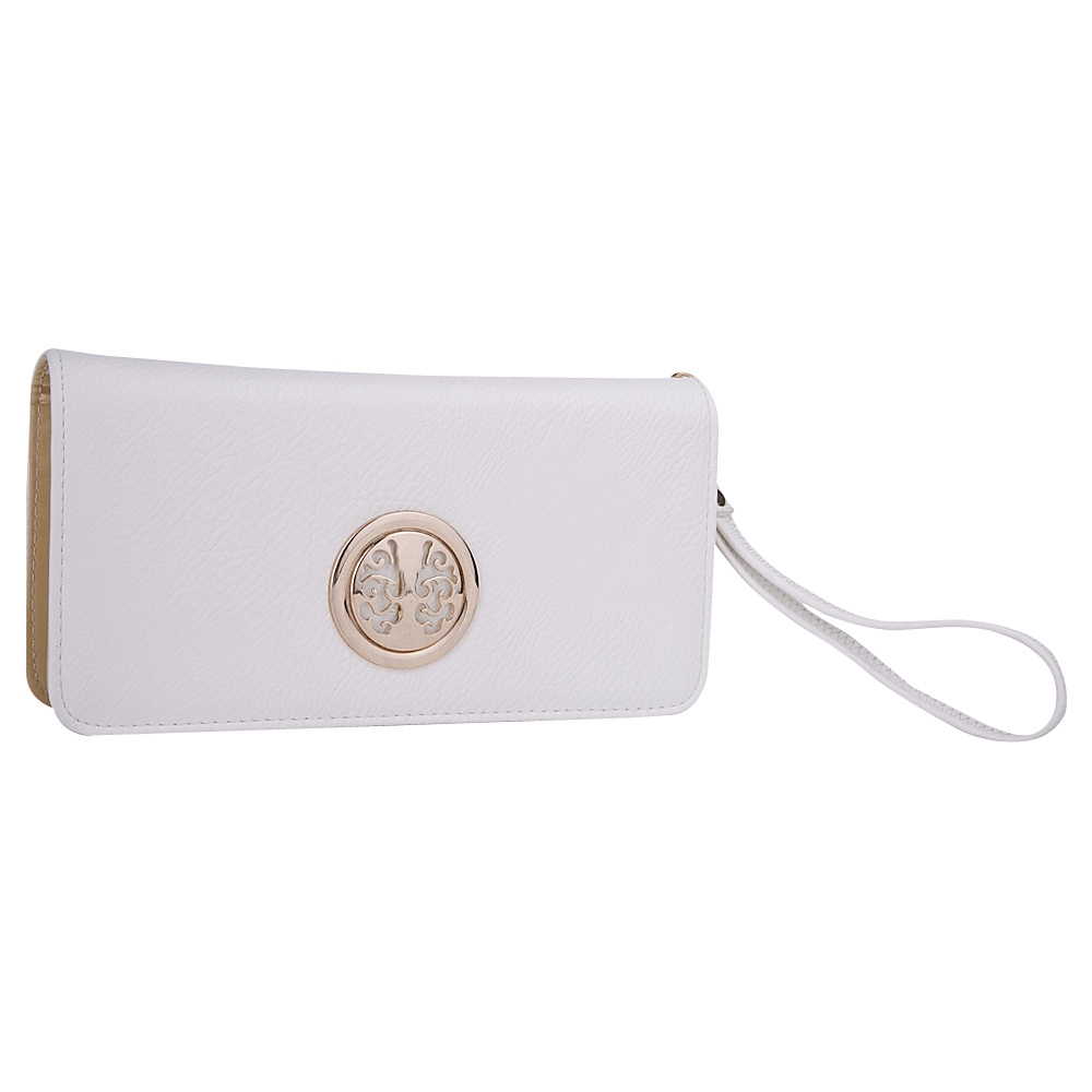 MKF Collection Bonnie Double-Zip Multiple Pocket Wallet White - MKF Collection Ladies Small Wallets