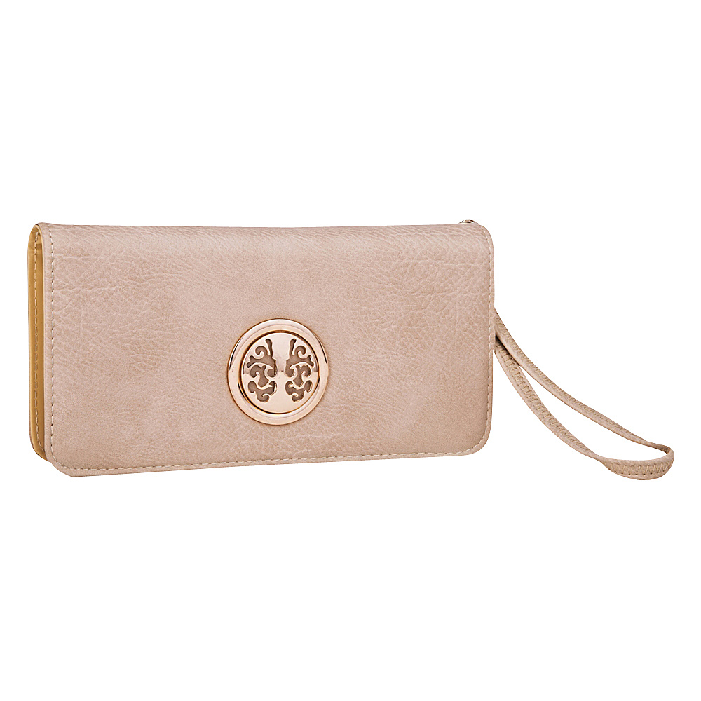 MKF Collection Bonnie Double-Zip Multiple Pocket Wallet Beige - MKF Collection Manmade Handbags - Handbags, Manmade Handbags