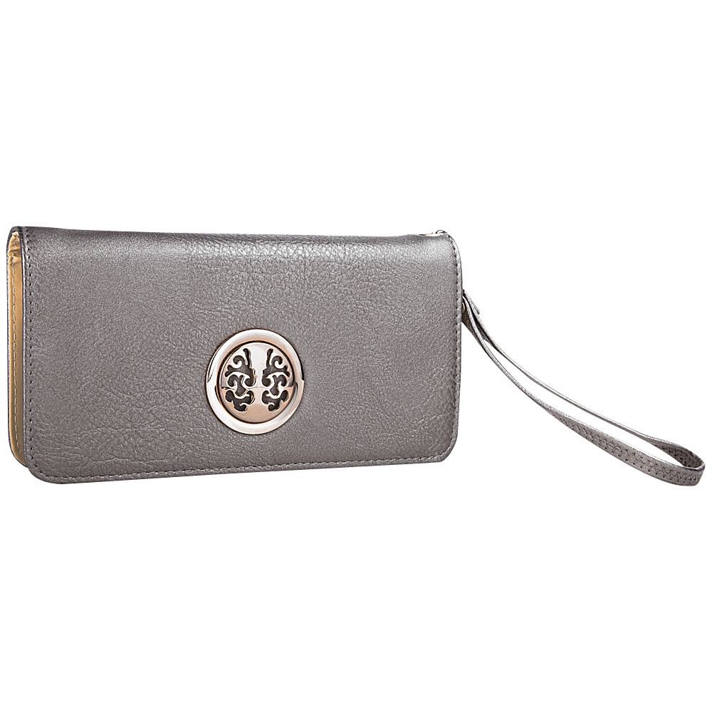 MKF Collection Bonnie Double Zip Multiple Pocket Wallet Pewter MKF Collection Women s Wallets