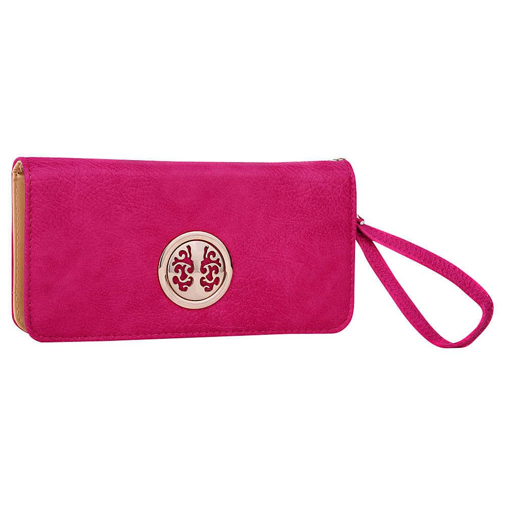 MKF Collection Bonnie Double-Zip Multiple Pocket Wallet Fuchsia - MKF Collection Ladies Small Wallets