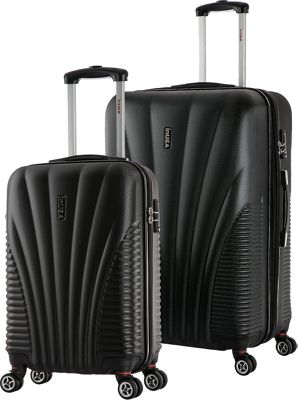 inUSA Chicago SL 2-Piece Lightweight Hardside Spinner Luggage Set Black - inUSA Luggage Sets