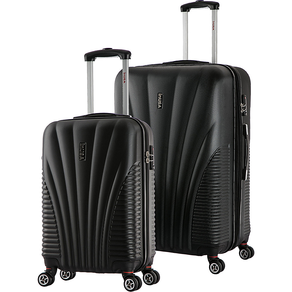 inUSA Chicago SL 2 Piece Lightweight Hardside Spinner Luggage Set Black inUSA Luggage Sets