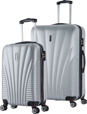 inUSA Chicago SL 2-Piece Lightweight Hardside Spinner Luggage Set Silver - inUSA Luggage Sets