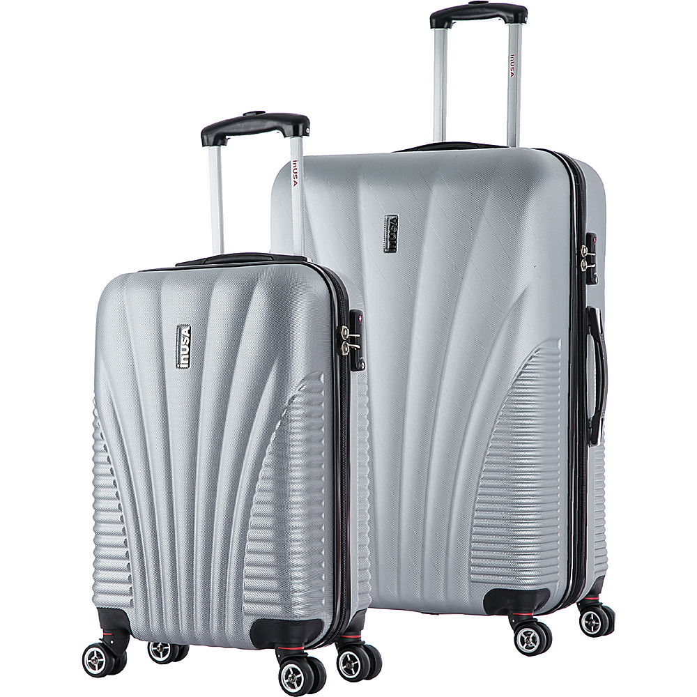 inUSA Chicago SL 2 Piece Lightweight Hardside Spinner Luggage Set Silver inUSA Luggage Sets