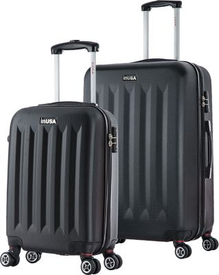 inUSA Philadelphia SL 2-Piece Lightweight Hardside Spinner Luggage Set Black - inUSA Luggage Sets