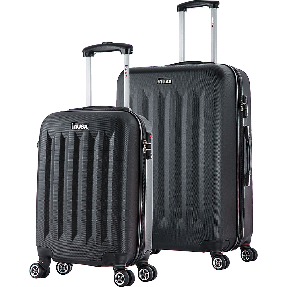 inUSA Philadelphia SL 2 Piece Lightweight Hardside Spinner Luggage Set Black inUSA Luggage Sets