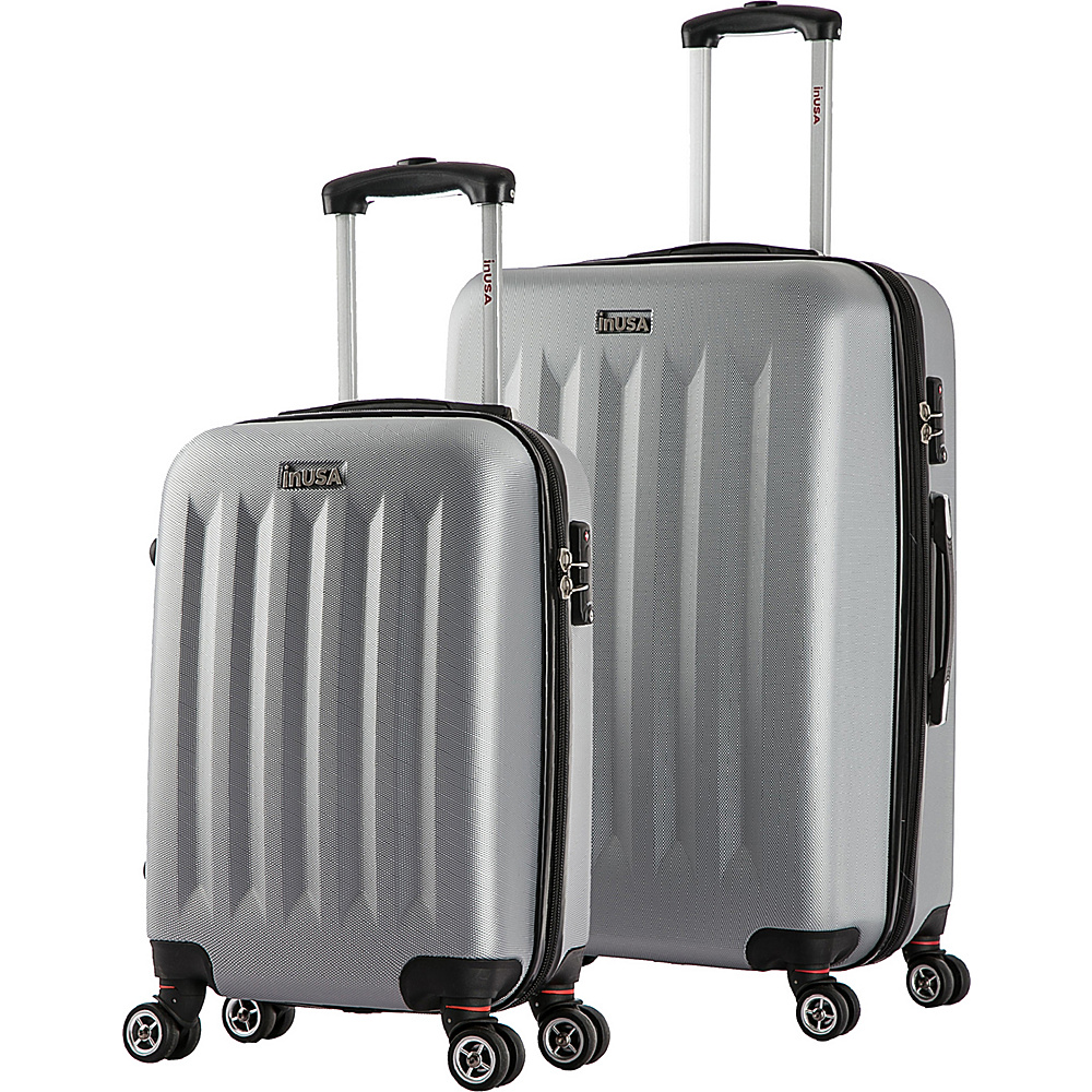 inUSA Philadelphia SL 2 Piece Lightweight Hardside Spinner Luggage Set Grey inUSA Luggage Sets