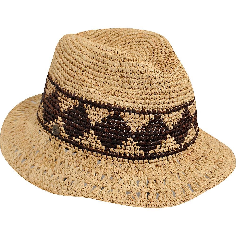 Karen Kane Hats Raffia Straw Aztec Trilby Hat Honey Cocoa Karen Kane Hats Hats Gloves Scarves