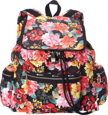 LeSportsac 3 Zip Voyager Backpack Romantics Black C - LeSportsac Everyday Backpacks