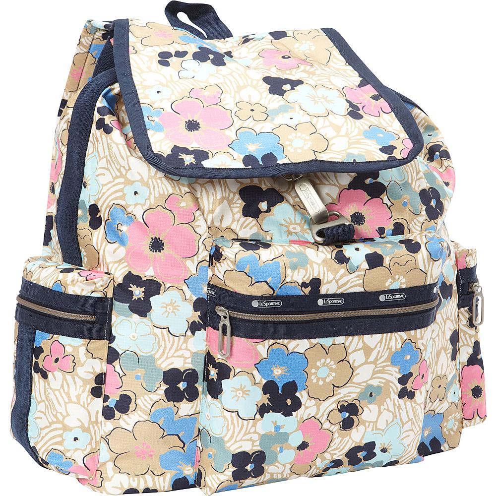 LeSportsac 3 Zip Voyager Backpack Ocean Blooms LeSportsac Everyday Backpacks