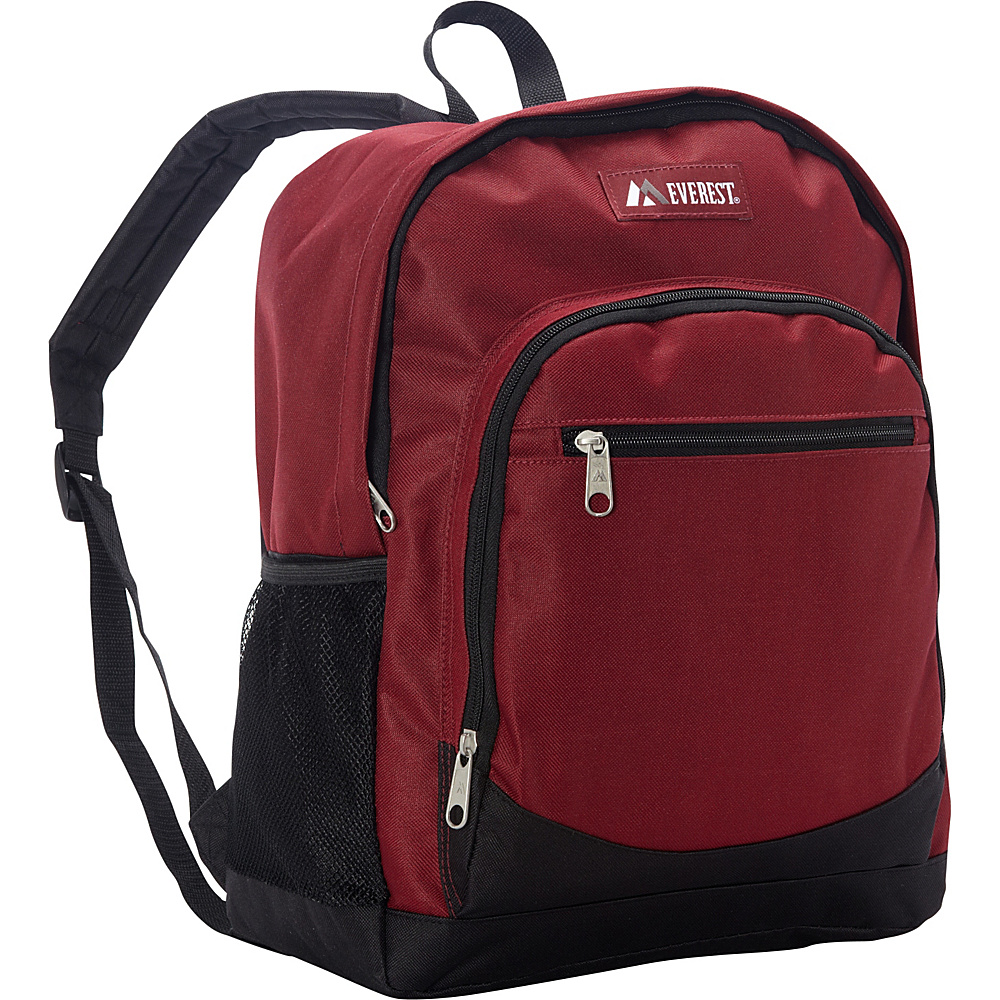 Everest Casual Backpack with Side Mesh Pocket Burgundy/Black - Everest Everyday Backpacks - Backpacks, Everyday Backpacks