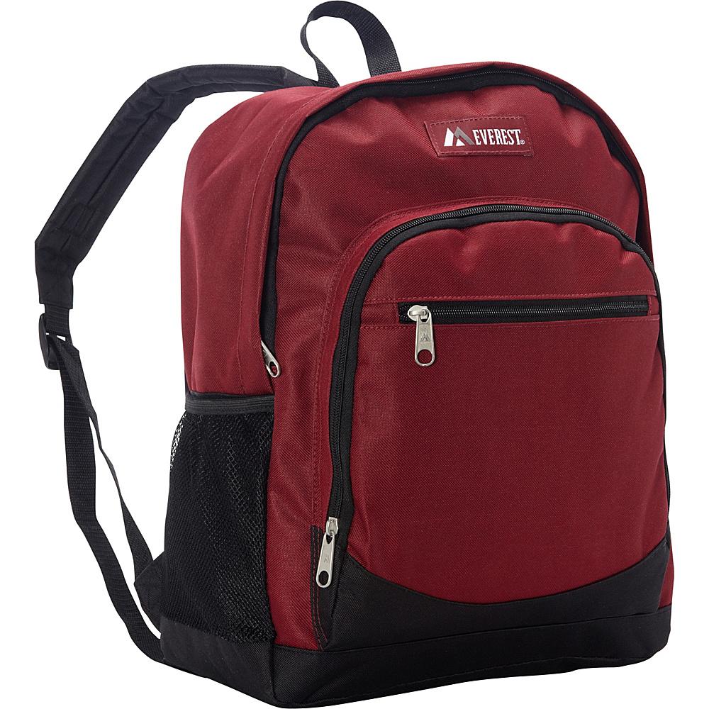 Everest Casual Backpack with Side Mesh Pocket Burgundy/Black - Everest Everyday Backpacks - Backpacks, Everyday Backpacks