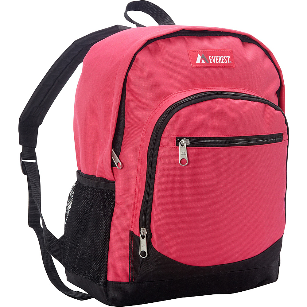 Everest Casual Backpack with Side Mesh Pocket Hot Pink / Black - Everest Everyday Backpacks - Backpacks, Everyday Backpacks
