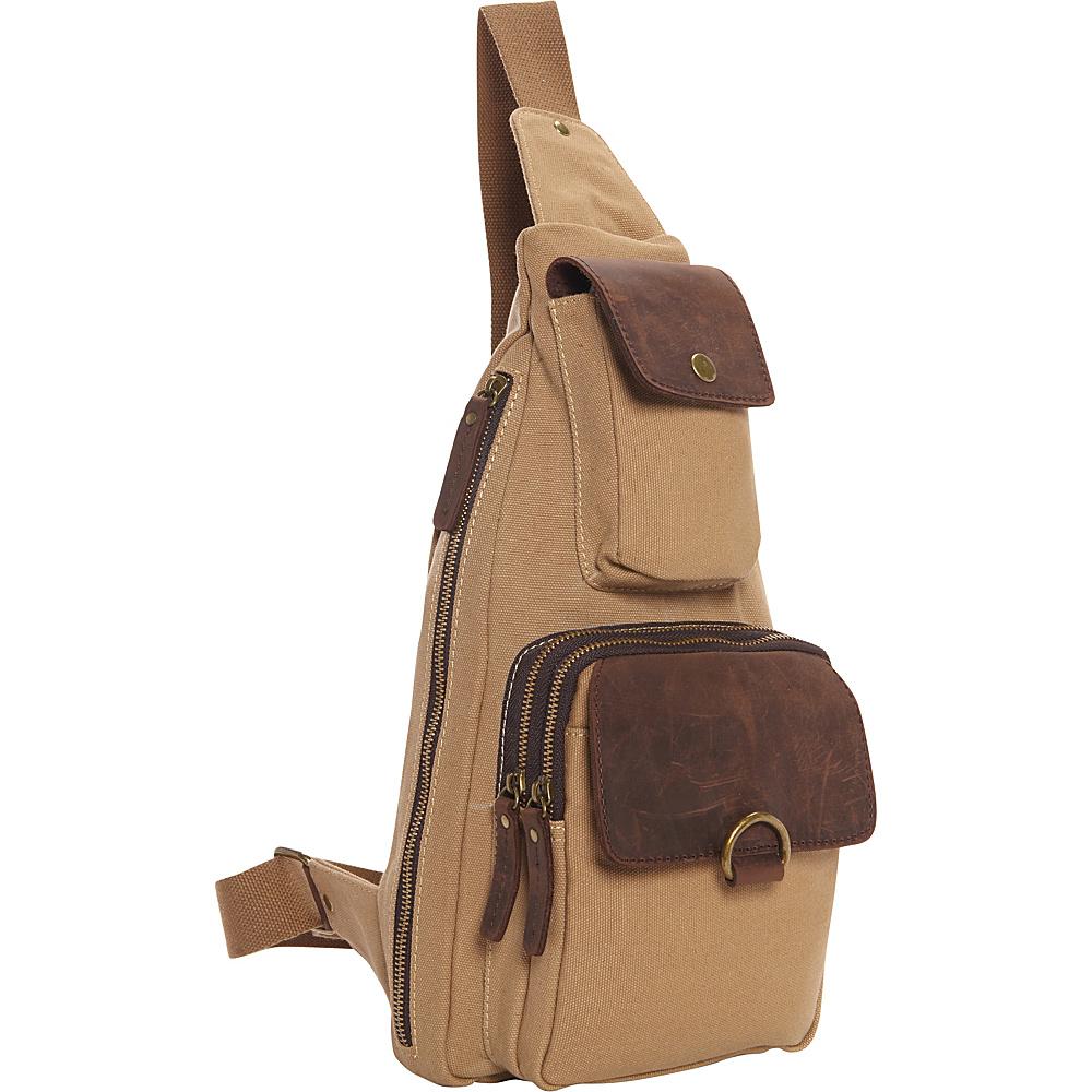 Vagabond Traveler Long Shape Slide Shoulder Chest Pack Khaki - Vagabond Traveler Slings - Backpacks, Slings