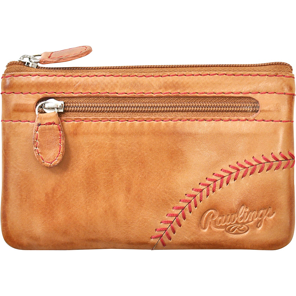 Rawlings Baseball Stitch Pouch With Credit Card Insert Tan Rawlings Leather Handbags