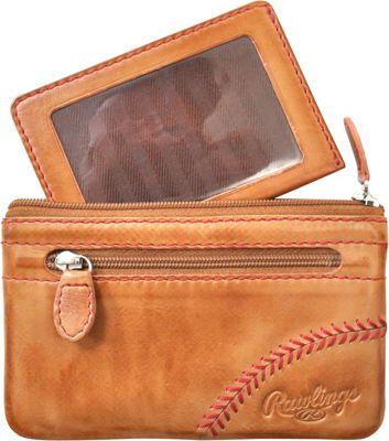 Rawlings Baseball Stitch Pouch With Credit Card Insert Tan - Rawlings Leather Handbags