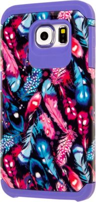 EMPIRE MINX Slim Protection Hybrid Case for Samsung Galaxy S6 Purple Boho Feathers - EMPIRE Electronic Cases