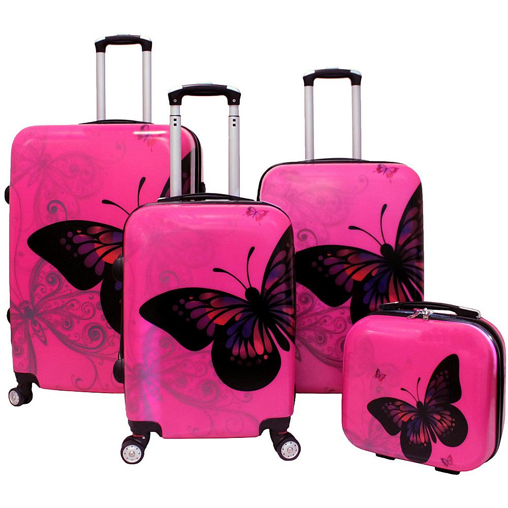 World Traveler 4-Piece Hardside Upright Spinner Luggage Set Pink Butterly - World Traveler Luggage Sets - Luggage, Luggage Sets